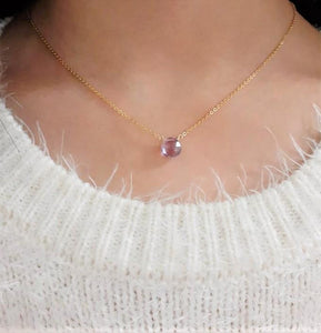 Natural Pink Amethyst Necklace - Handmade Jewelry - 14k Gold Filled or Sterling Silver