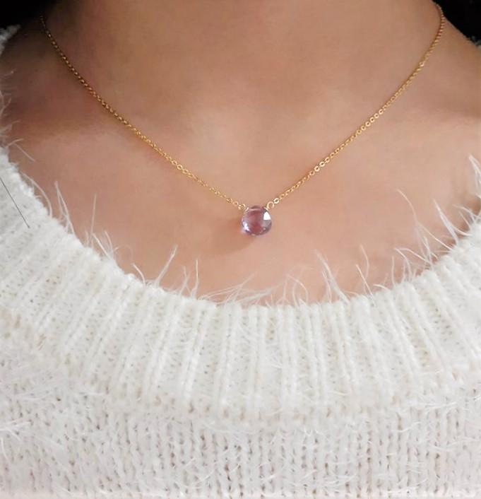 Natural Purple Amethyst Necklace - Handmade Jewelry - 14k Gold Filled or Sterling Silver