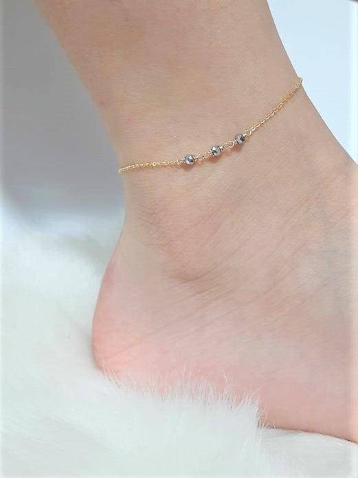 Dainty Two Toned Anklet, Pyrite Anklet / Handmade Jewelry / 14k Gold Filled