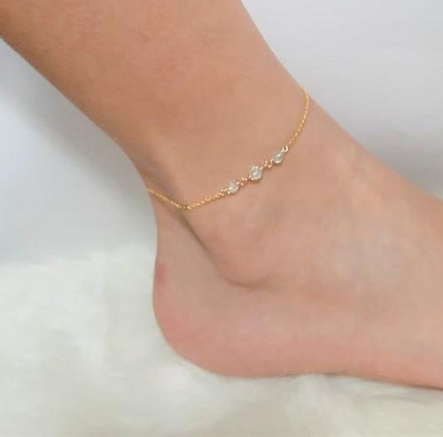 Dainty Aquamarine Anklet, March Birthstone / Handmade Jewelry / 14k Gold Filled