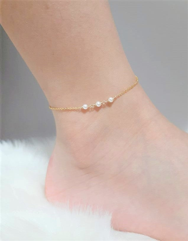 Genuine Freshwater Pearl Anklet, June Birthstone / Handmade Jewelry / 14k Gold Filled