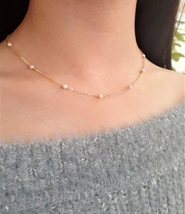 Genuine Freshwater Pearl Necklace - 14k Gold Filled or Sterling Silver - June Birthstone - Handmade Jewelry