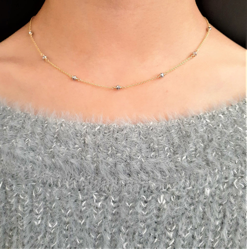 Natural Pyrite Minimalist Choker - Handmade Jewelry - 14k Gold Filled or Sterling Silver