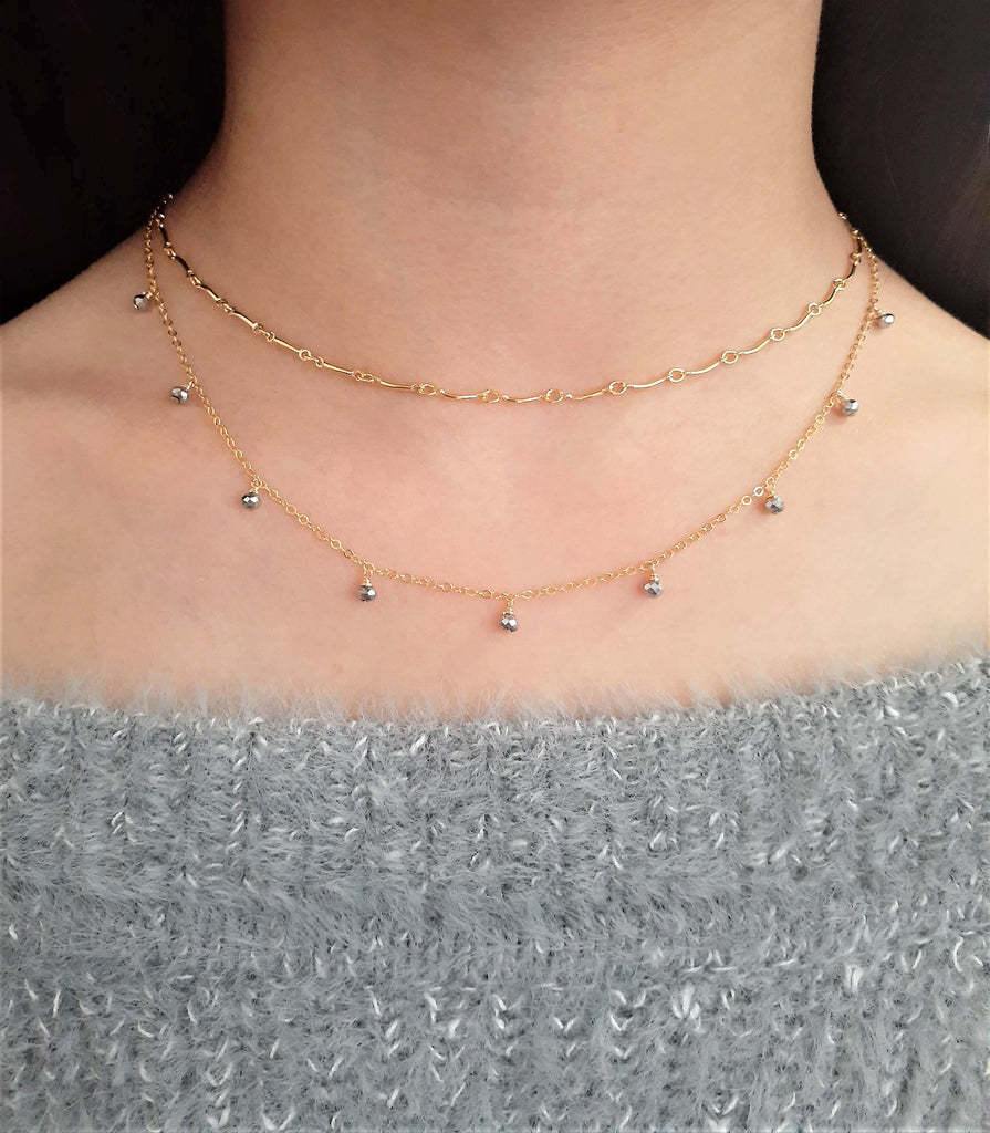 Natural Pyrite Dainty Choker - Handmade Jewelry - 14k Gold Filled