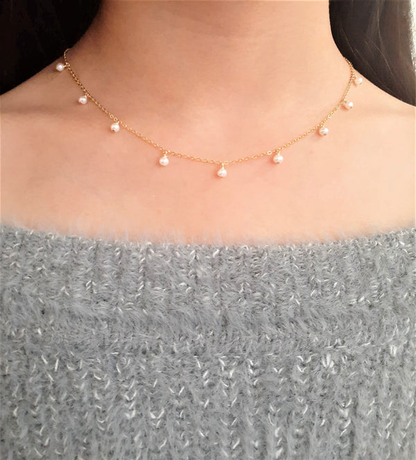 Dainty Freshwater Pearl Drop Necklace - June Birthstone - Handmade Jewelry - 14k Gold Filled