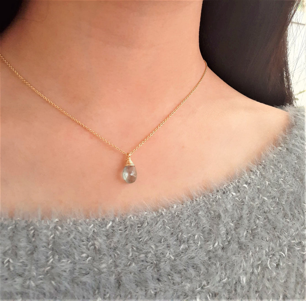 Natural Moss Aquamarine Necklace - March Birthstone - Handmade Jewelry - 14k Gold Filled or Sterling Silver