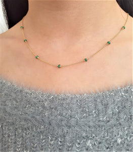 Genuine Emerald Necklace - 14k Gold Filled or Sterling Silver- May Birthstone - Handmade Jewelry