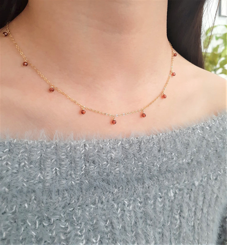 Natural Garnet Choker - January Birthstone - 14k Gold Filled - Handmade Jewelry