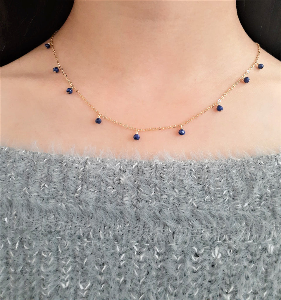 Lapis Lazuli Necklace - December Birthstone - 14k Gold Filled - Worn on Law and Order SVU - Handmade Jewelry