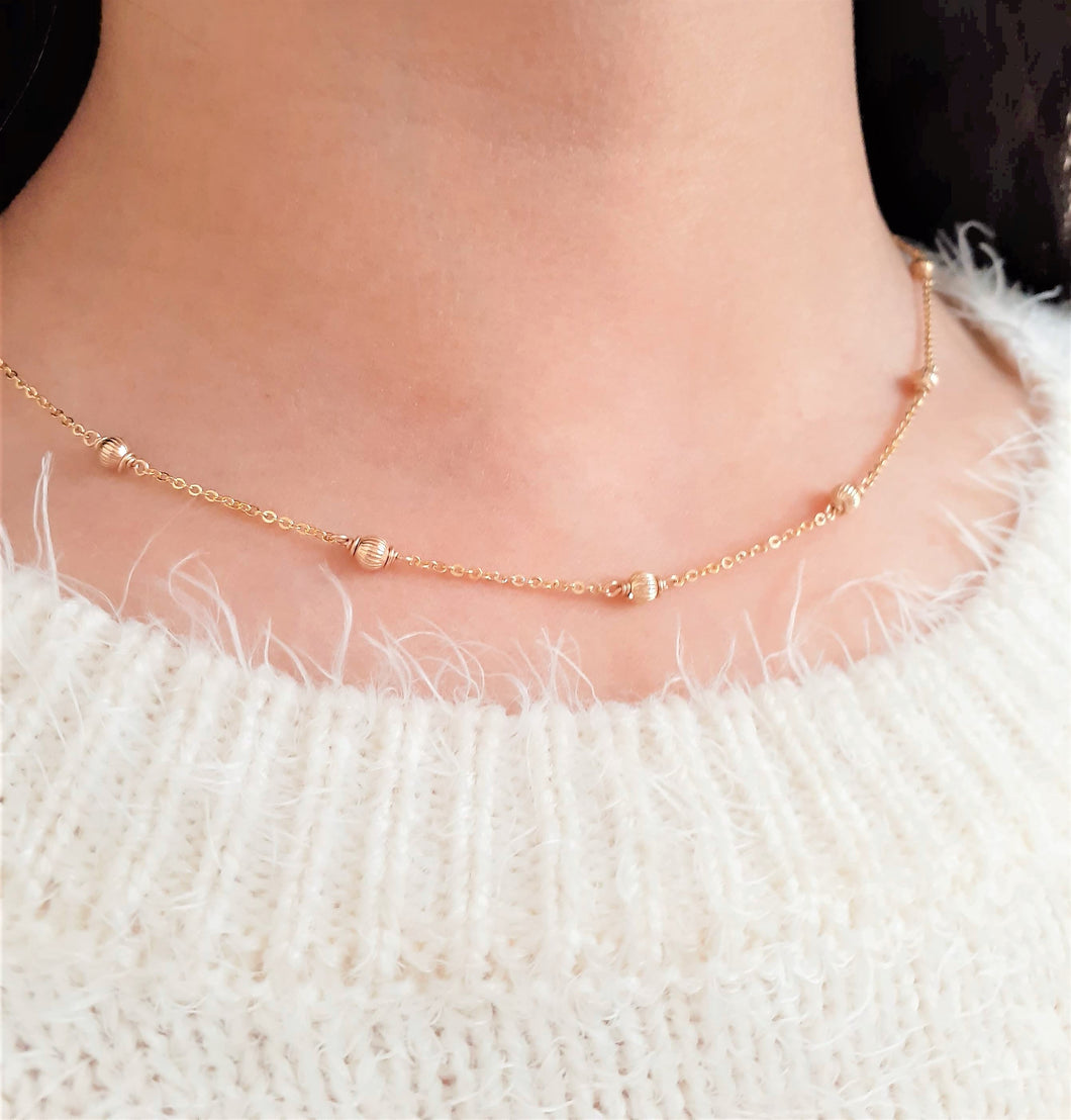 14k Gold Filled Dainty Gold Necklace - Corrugated Cut - Handmade Jewelry