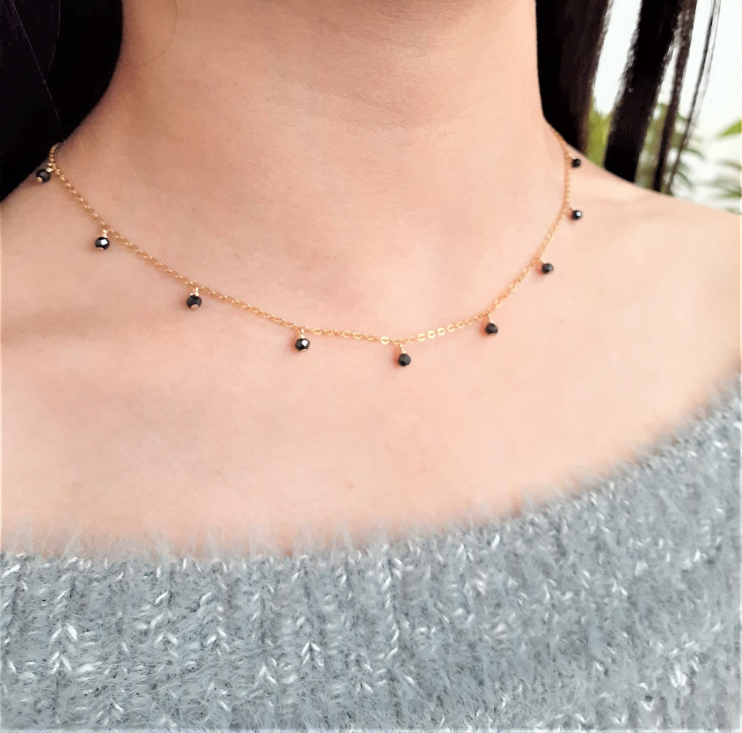 Dainty Black Spinel Drop Necklace - August Birthstone - Handmade Jewelry - 14k Gold Filled