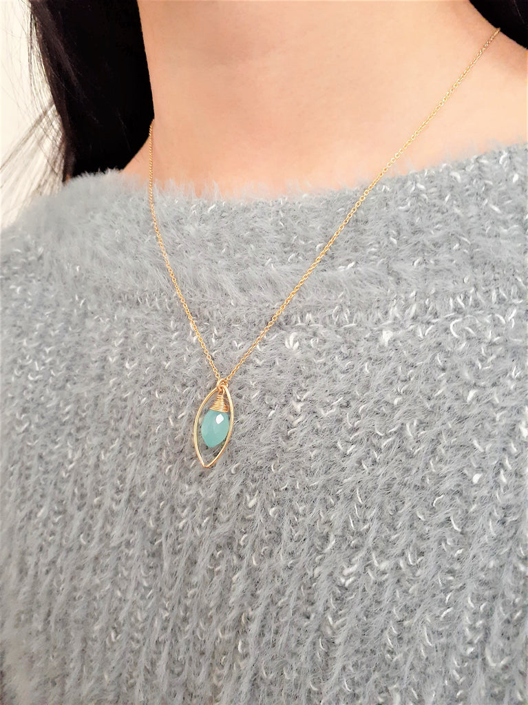 14k Gold Filled Aqua Chalcedony Necklace - Worn on The Fosters - Handmade Jewelry - 14k Gold Filled