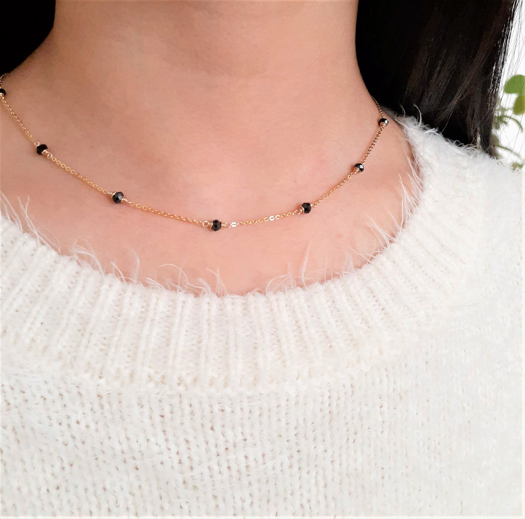 Natural Black Spinel Minimalist Necklace - August Birthstone - 14k Gold Filled or Sterling Silver - Handmade Jewelry