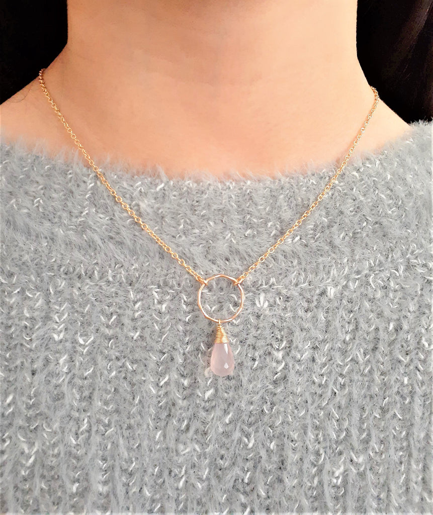 Pink Chalcedony Hoop Necklace -  Worn on Riverdale