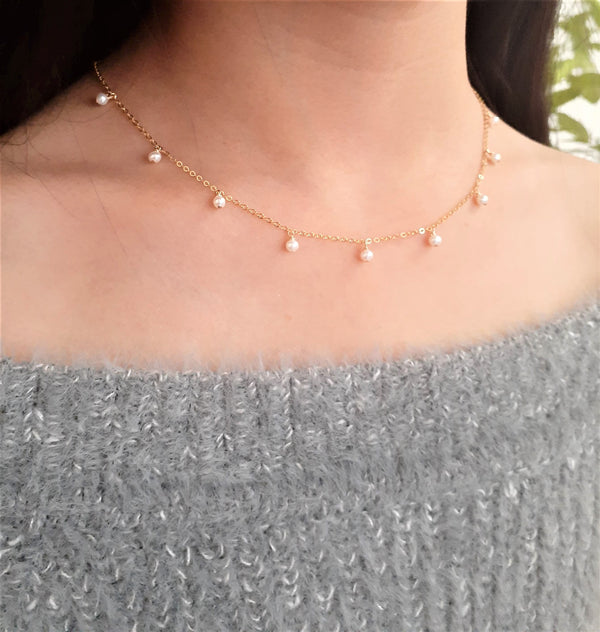 Dainty Freshwater Pearl Choker Necklace