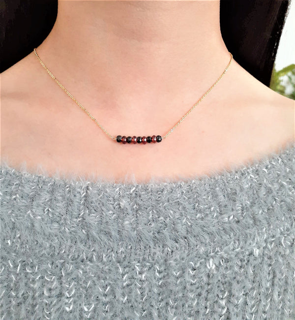 Natural Black Spinel and Garnet Bar Necklace - January Birthstone, August Birthstone - Worn on The Vampire Diaries - 14k Gold Filled - Handmade Jewelry