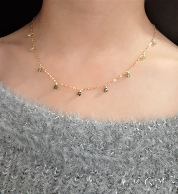 Green Tourmaline Ombre Necklace, October Birthstone - 14k Gold Filled - Handmade Jewelry