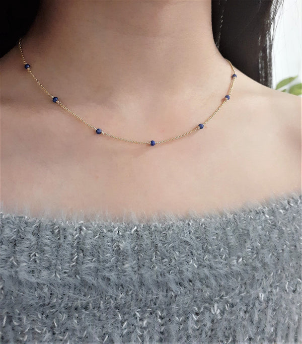 Natural Lapis Lazuli Minimalist Necklace - December Birthstone - 14k Gold Filled or Sterling Silver- Handmade Jewelry