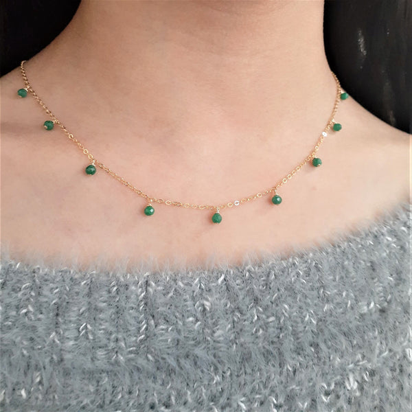Genuine Emerald Necklace - Handmade Jewelry - 14k Gold Filled- May Birthstone