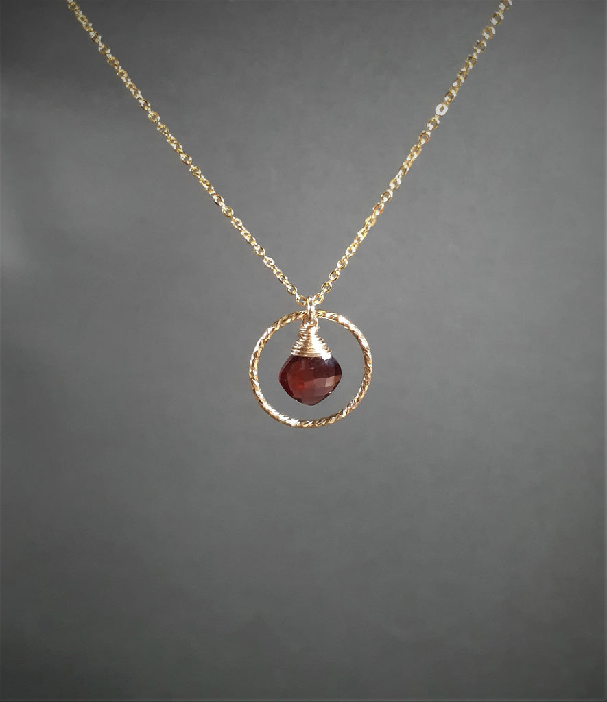Garnet Hoop Necklace