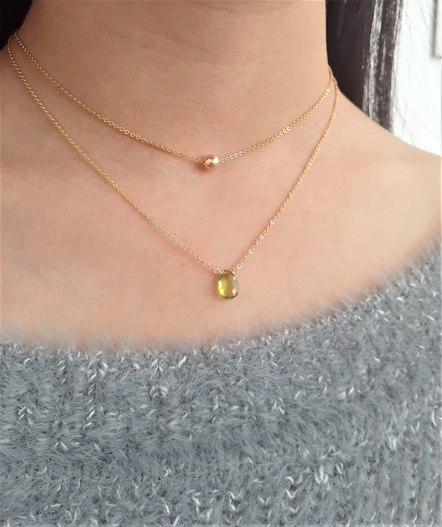 Floating Gold Ball Necklace