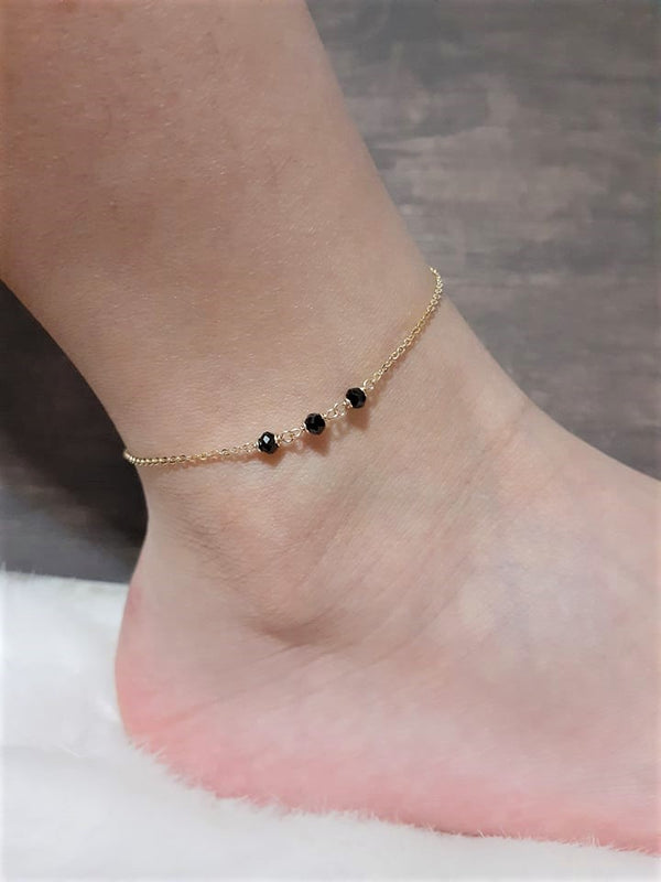 Dainty Black Spinel Anklet, August Birthstone / Handmade Jewelry / 14k Gold Filled