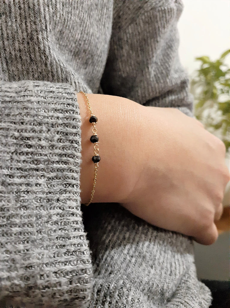 Black Spinel Bracelet, August Birthstone / Handmade Jewelry / 14k Gold Filled