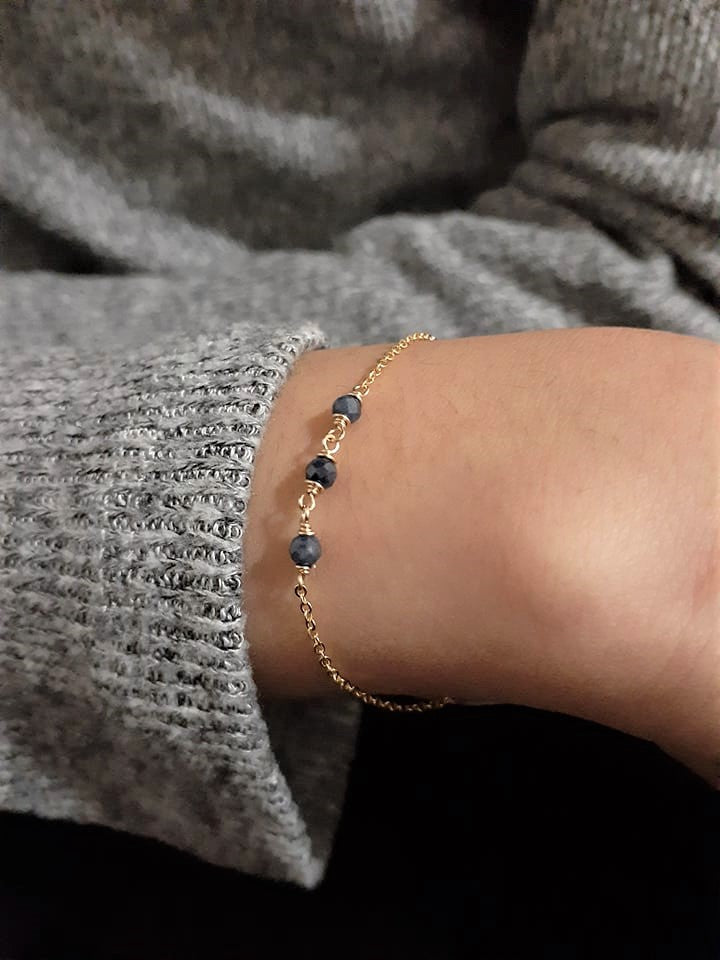 Genuine Blue Sapphire Bracelet - September Birthstone - Handmade Jewelry - 14k Gold Filled