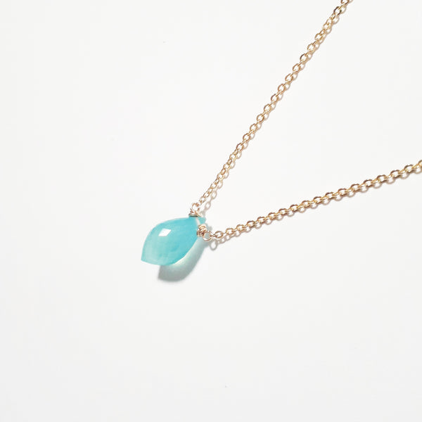Aqua Chalcedony Necklace  Handmade Jewelry - 14k Gold Filled or Sterling Silver