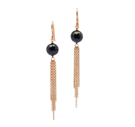 Black Spinel Tassel Earrings - 14k Gold Filled - Shawnda Patterson - Handmade Earrings - Made by Admirable Jewels - Image 1