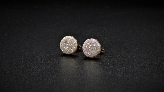 White Druzy Studs - Stud Earrings - Handmade Jewelry - Bridal Studs - Bridesmaid Gift - Bridal Earrings