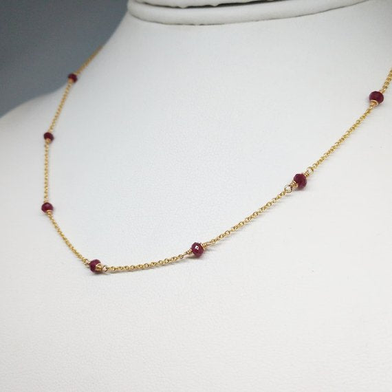 Genuine Ruby Necklace - 14k Gold Filled or Sterling Silver - July Birthstone - Handmade Jewelry