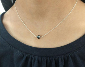 Genuine Black Diamond Necklace, April Birthstone / Handmade Jewelry / Dainty Diamond Necklace, Your choice of 14k Gold Filled or Sterling Silver, Delicate Layered Necklace - model - (image 2)