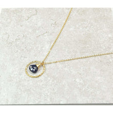 Load image into Gallery viewer, Genuine Sapphire Circle Necklace - 14k Gold Filled (image 1)