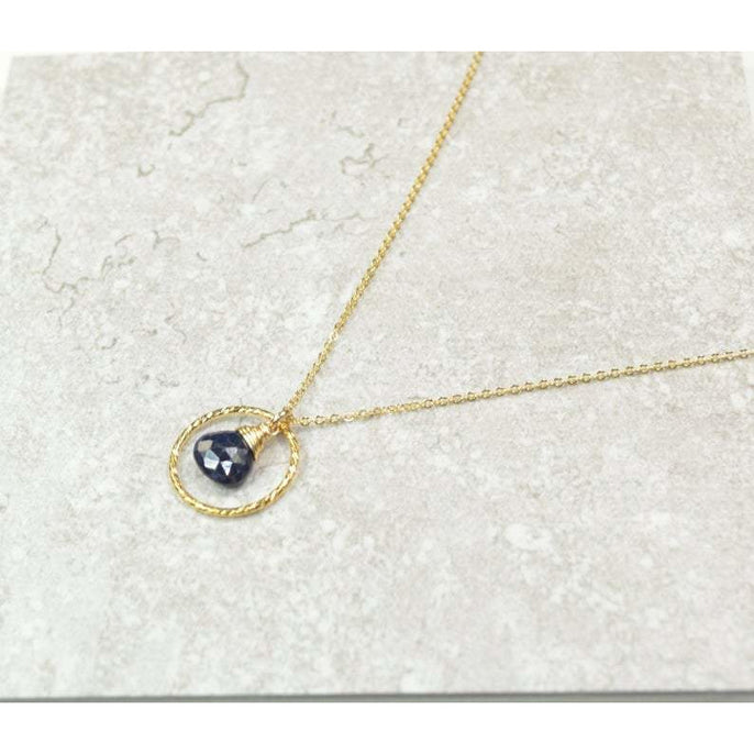 Genuine Sapphire Circle Necklace - September Birthstone - Handmade Jewelry - 14k Gold Filled or Sterling Silver