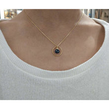 Load image into Gallery viewer, Genuine Sapphire Circle Necklace - 14k Gold Filled (image 3)