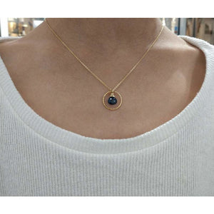 Genuine Sapphire Circle Necklace - 14k Gold Filled (image 3)
