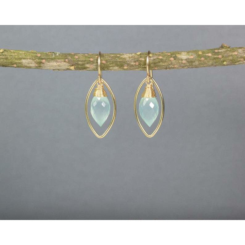 Aqua Chalcedony Marquise Earrings - Worn on Bloodline - Handmade Jewelry - Gemstone Earrings - Chalcedony Earrings - image 1