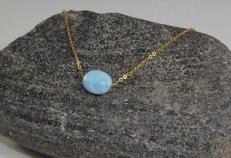 Dainty Larimar Floating Necklace - Handmade Jewelry - 14k Gold Filled or Sterling Silver