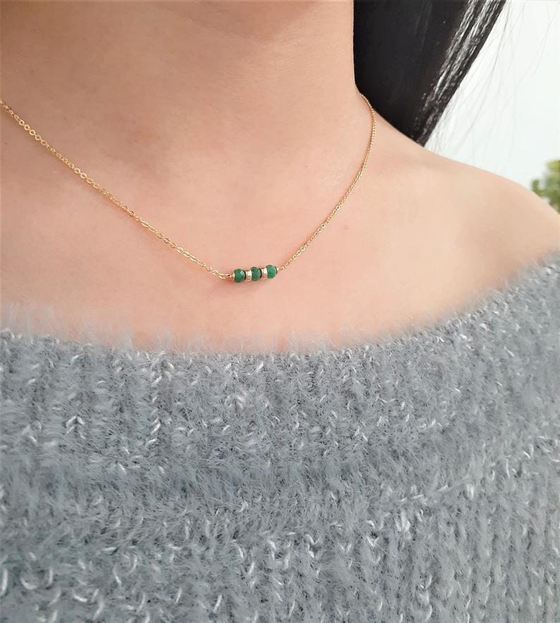 Genuine Emerald Bar Necklace, May Birthstone / Handmade Jewelry / 14k Gold Filled