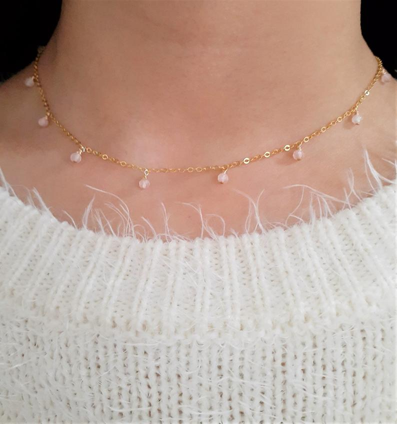 Dainty Rose Quartz Necklace / Handmade Jewelry / 14k Gold Filled