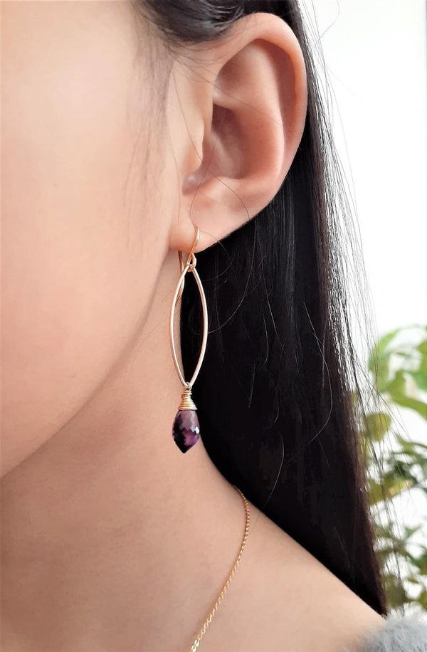 Purple Amethyst Marquise Dangle Earrings