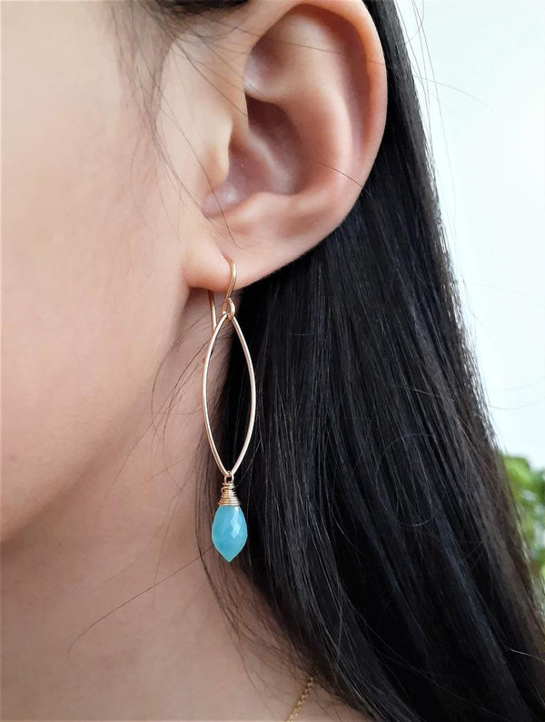 Aqua Chalcedony Marquise Drop Earrings