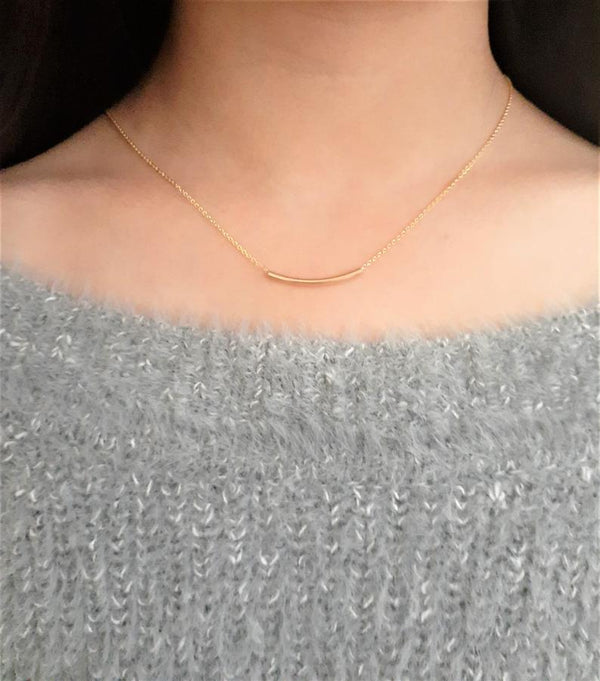 Gold Filled Tube Necklace - Fidget Necklace