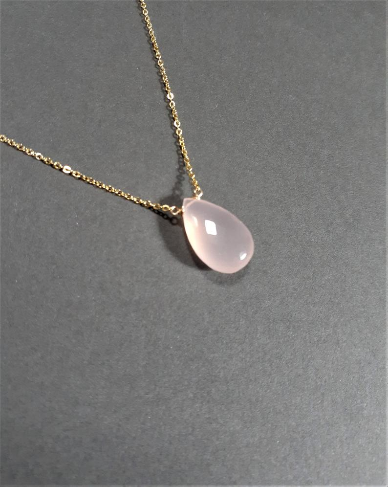 Pink Chalcedony Pear Shape Necklace