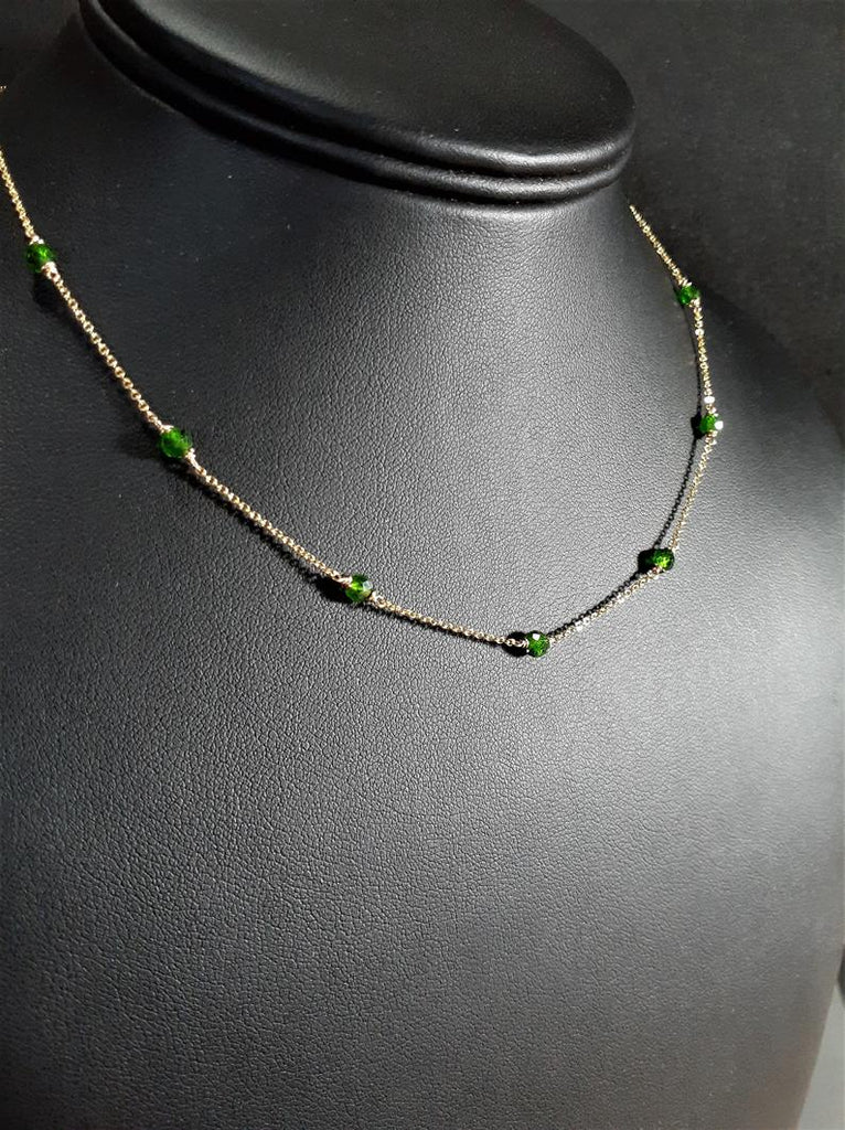 Delicate Chrome Diopside Necklace / Handmade Jewelry / 14k Gold Filled or Sterling Silver