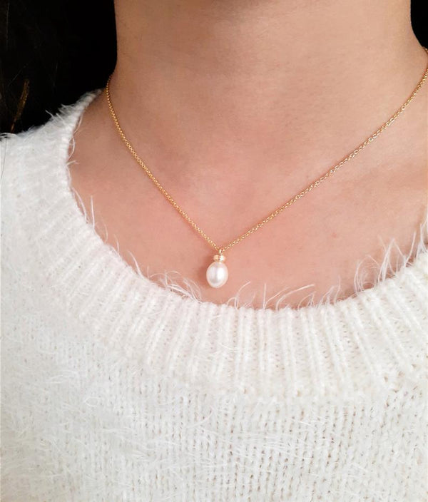 Genuine Freshwater Pearl Necklace, June Birthstone / Handmade Jewelry / 14k Gold Filled