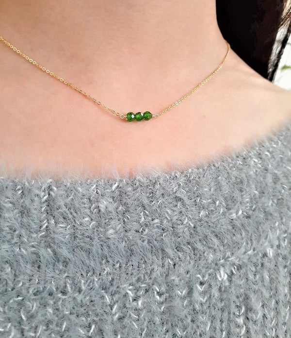 Chrome Diopside Bar Necklace - Handmade Jewelry - 14k Gold Filled or Sterling Silver