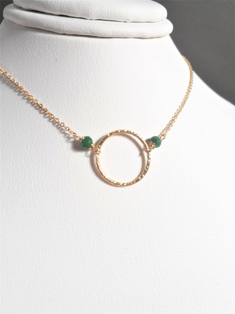 Emerald Hoop Necklace