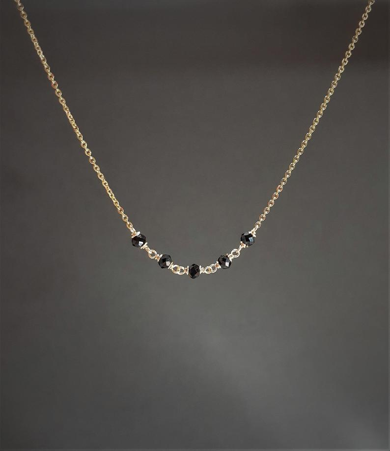 Beaded Black Spinel Necklace